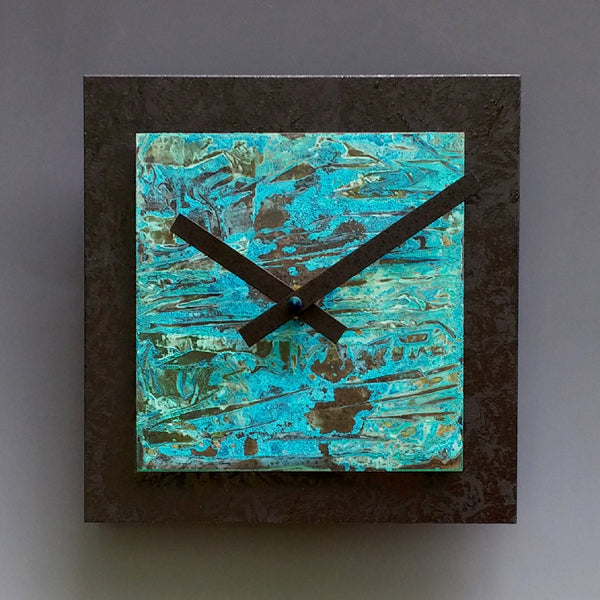 Black and Verdigris Square Clock