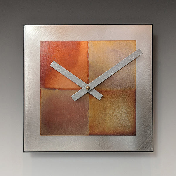 Steel and Copper Square Clock