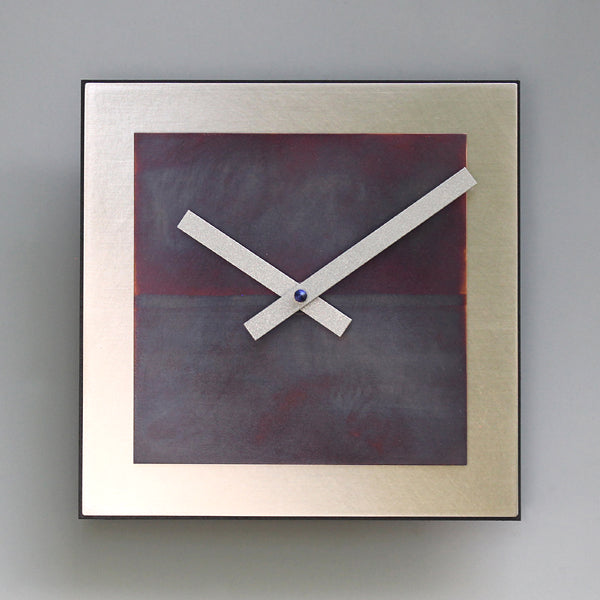 Steel and Blue Copper Square Clock