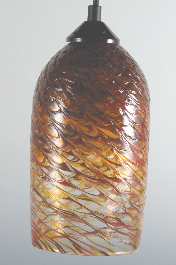 Red Gold Clear Optic Blown Glass Pendant Lamp