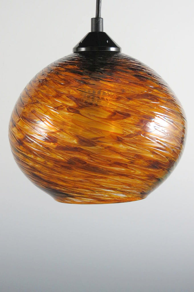 Tortoise Clear Optic Blown Glass Pendant Lamp