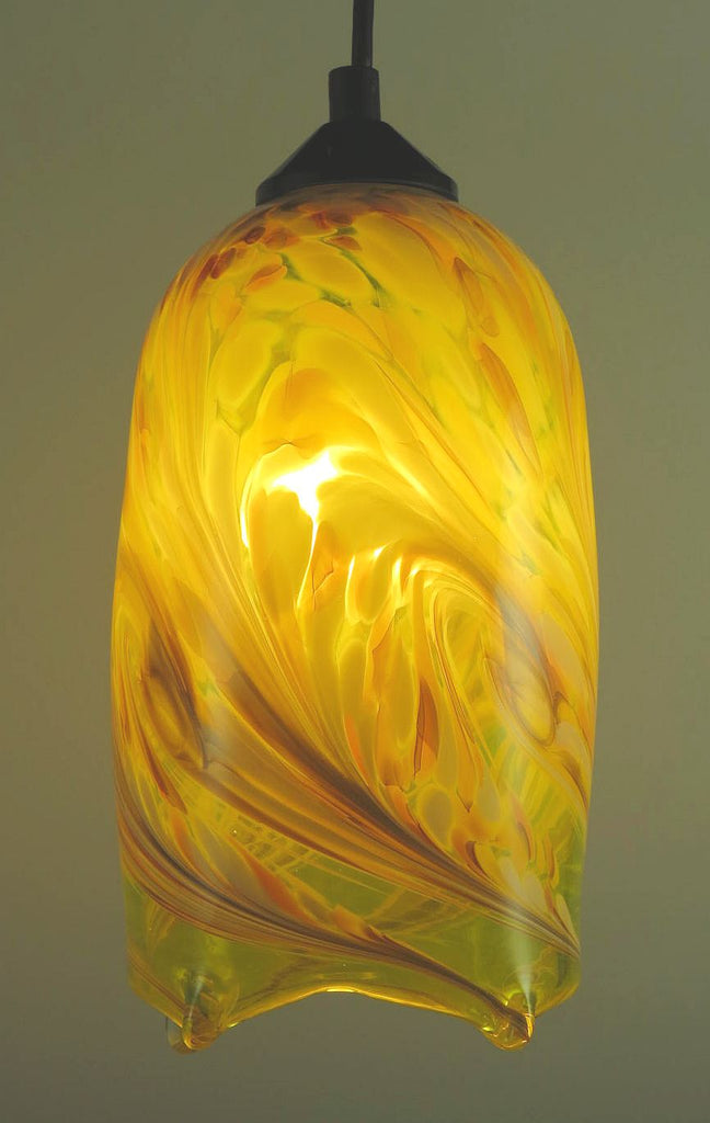 Yellow Flame Blown Glass Pendant Lamp