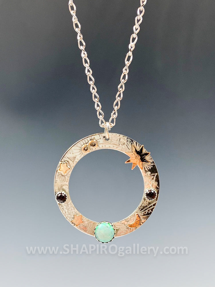 Washer Necklace with Opal