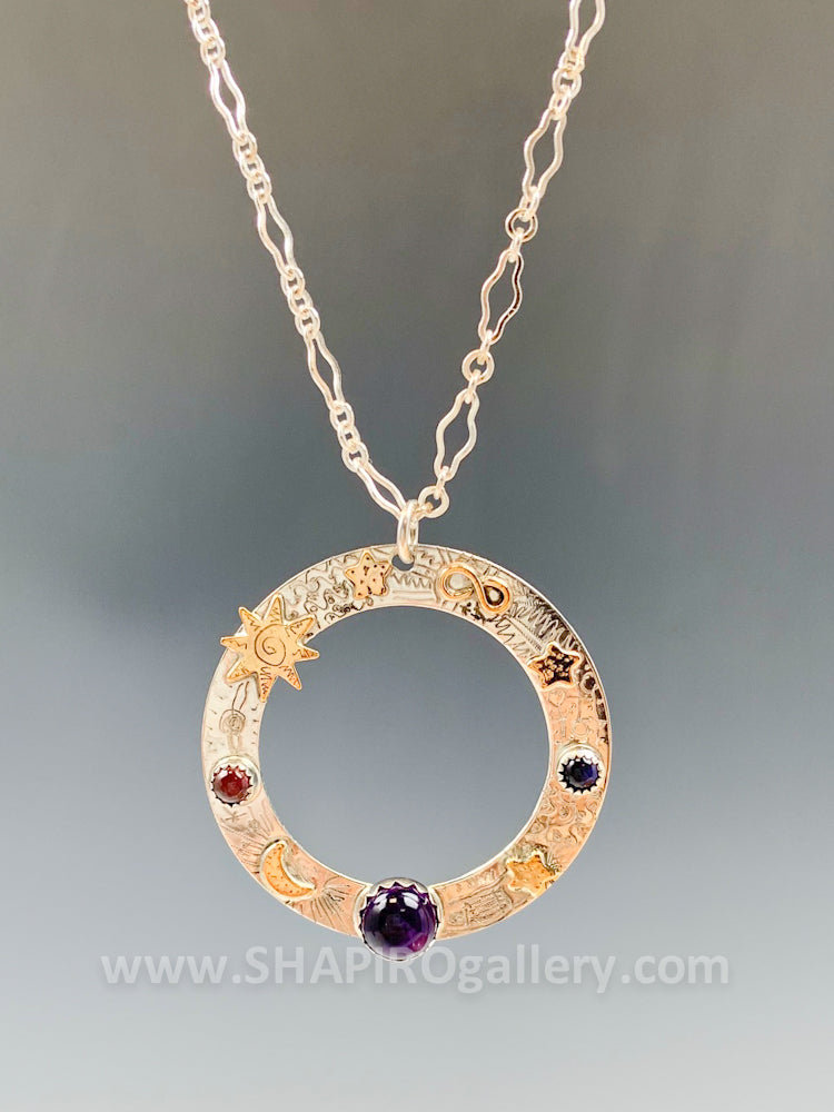 Washer Necklace with Amethyst