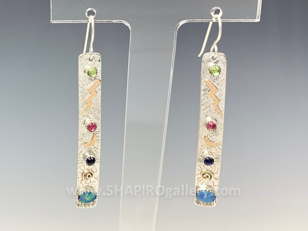 Long Rectangle Earrings with Opal