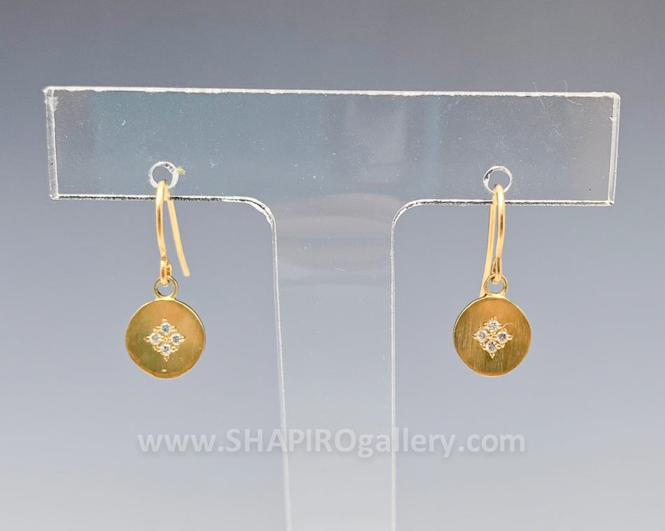 Diamond Hook 'Four Star' Earrings in Gold