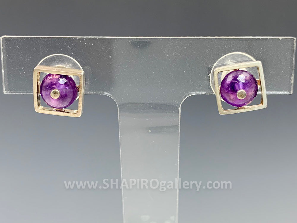 Amethyst Square Post Earrings