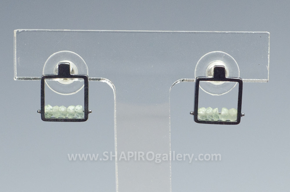 Square Post Earrings with Prehnite