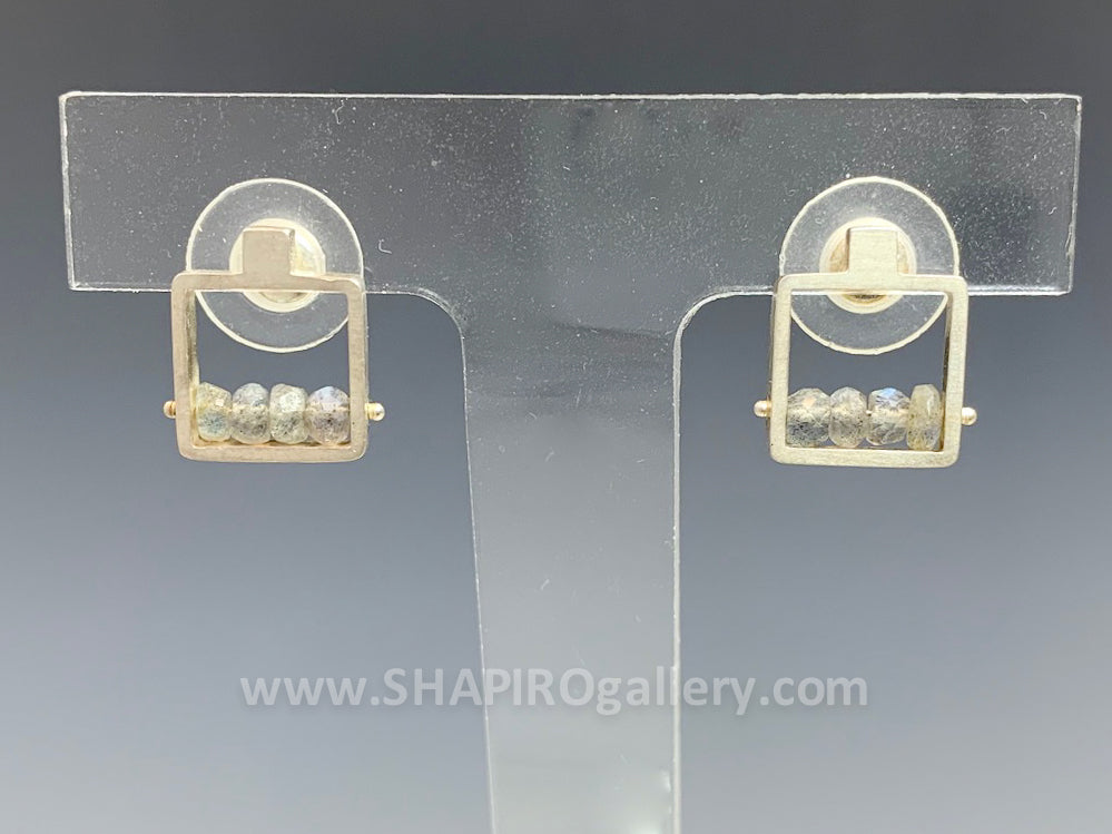 Labradorite Frame Post Earrings