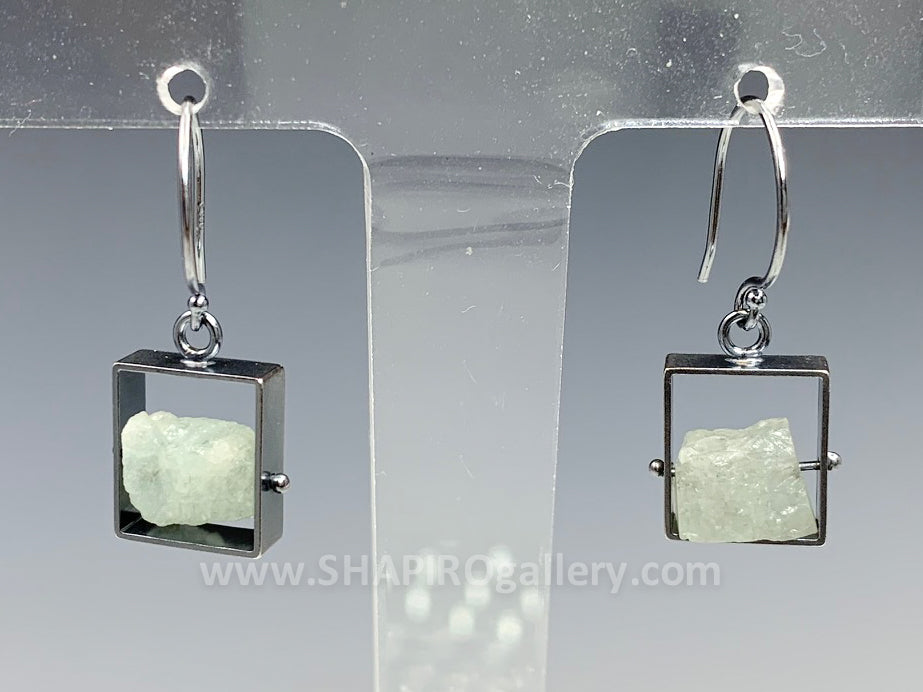 Aquamarine Frame Earrings