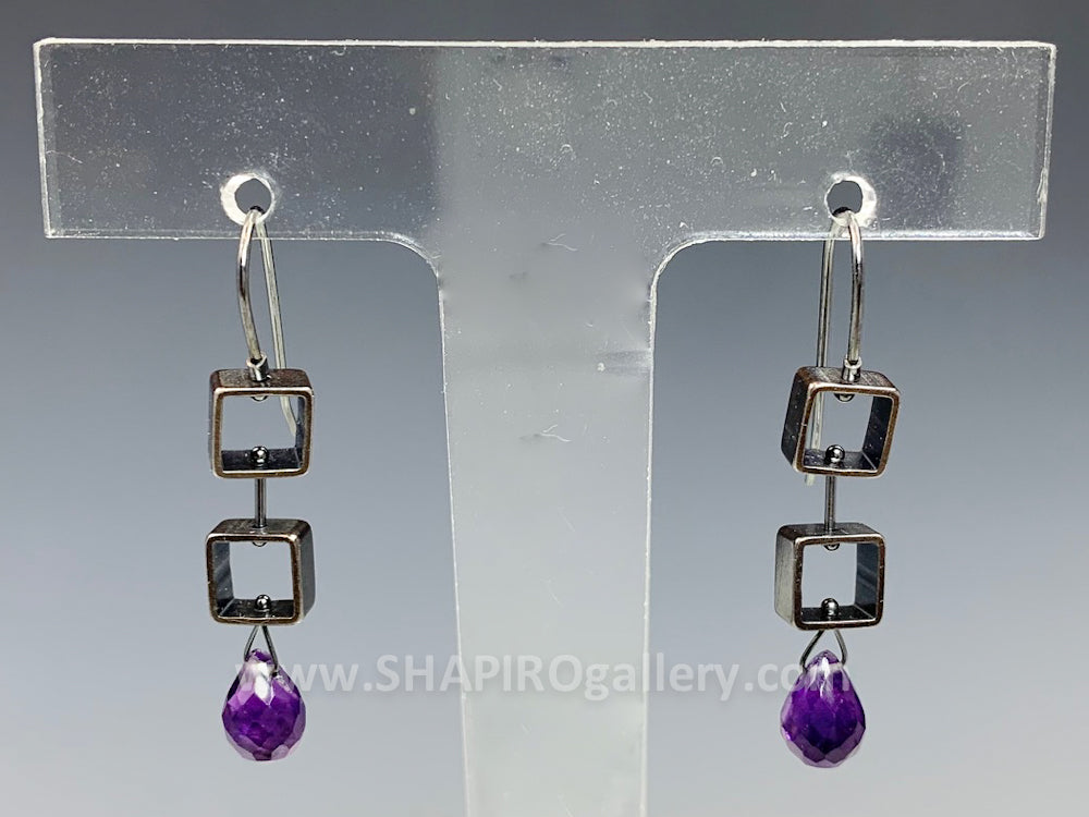 Mini Square Amethyst Earrings