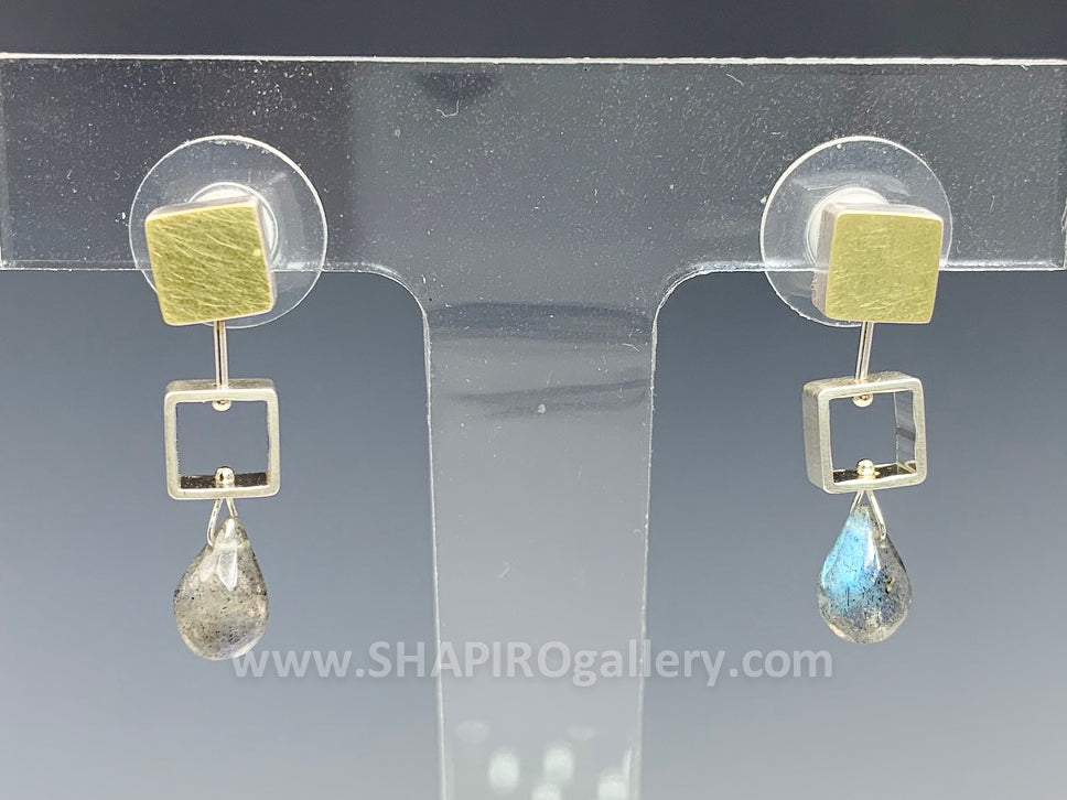 Tiny Square Labradorite Post Earrings