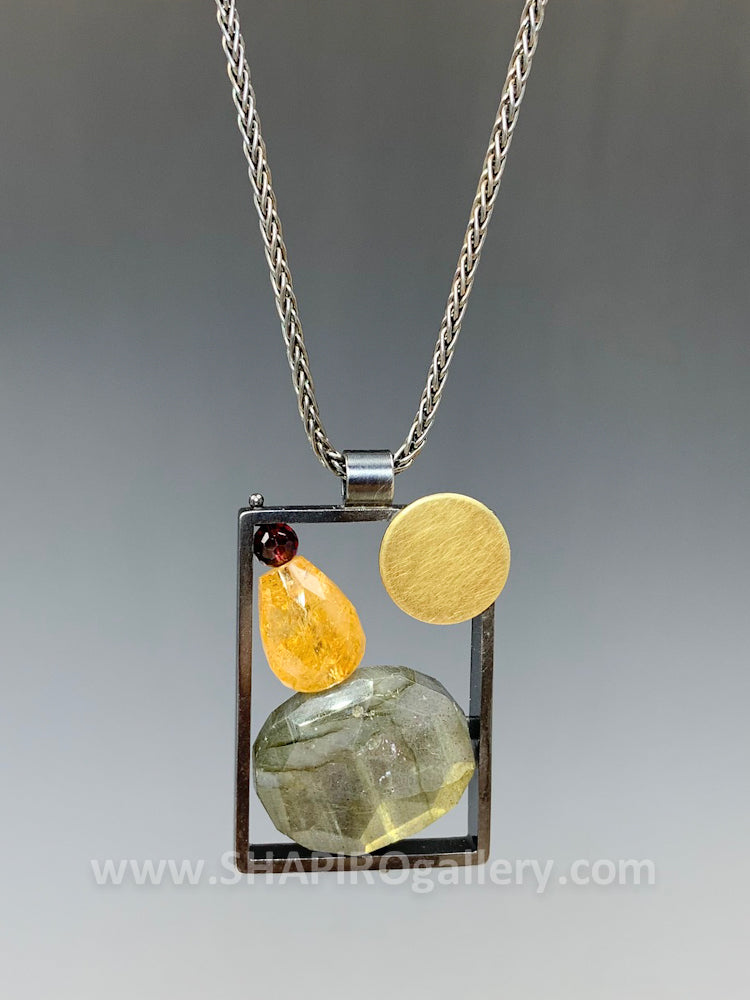 Framed Necklace with Garnet, Citrine and Labradorite