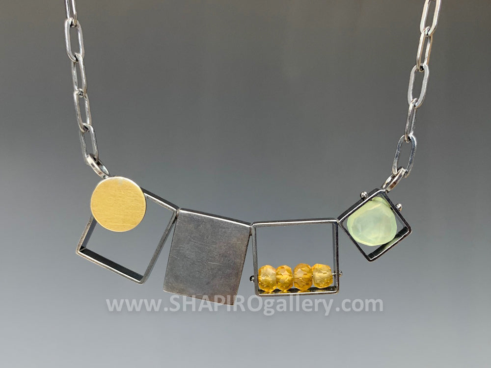 Oxidized Horizontal Square Necklace