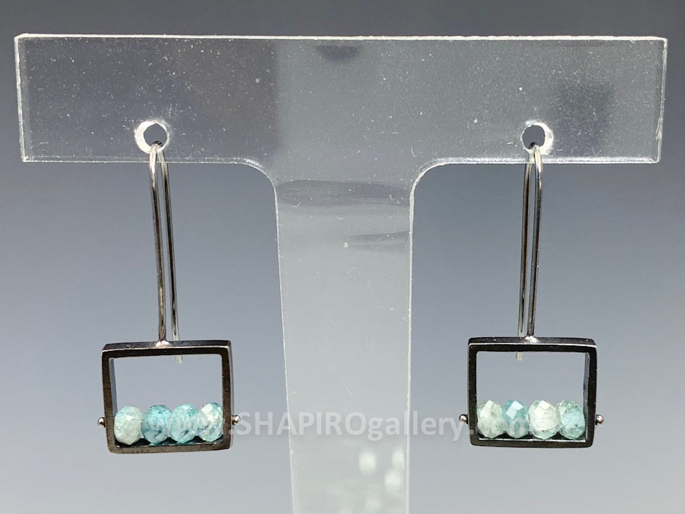 Blue Zircon Frame Earrings