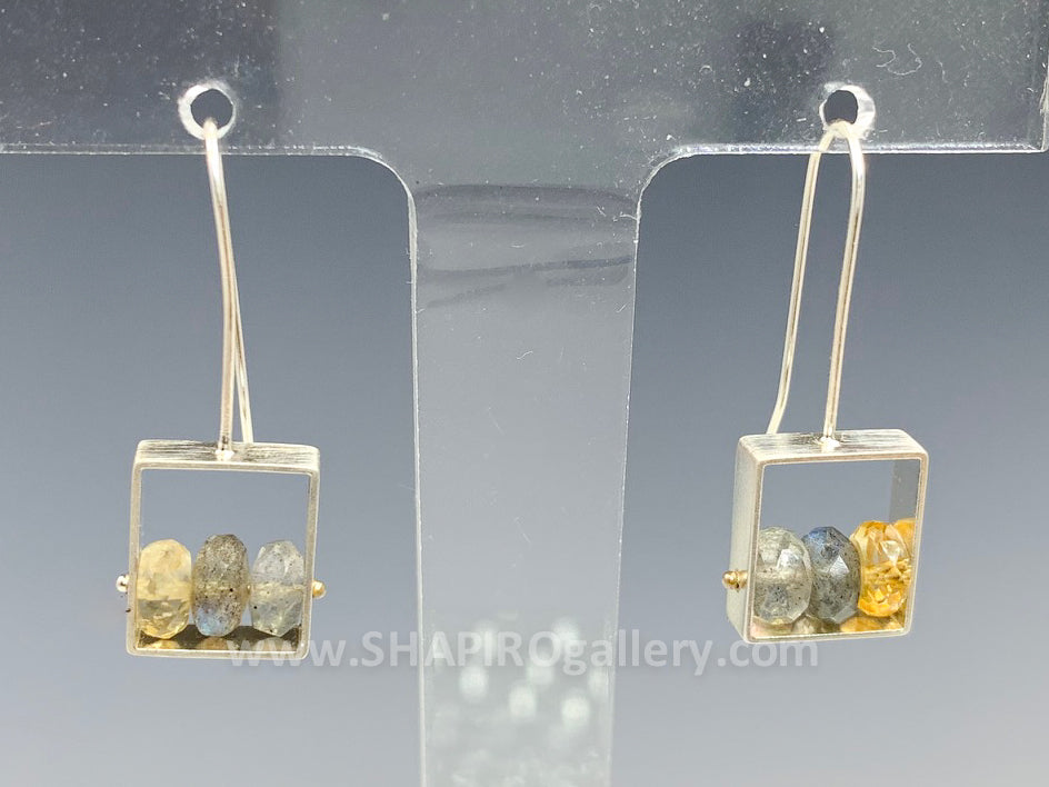 Labradorite and Honey Topaz Earrings
