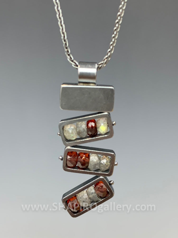 Stacked Garnet and Labradorite Necklace