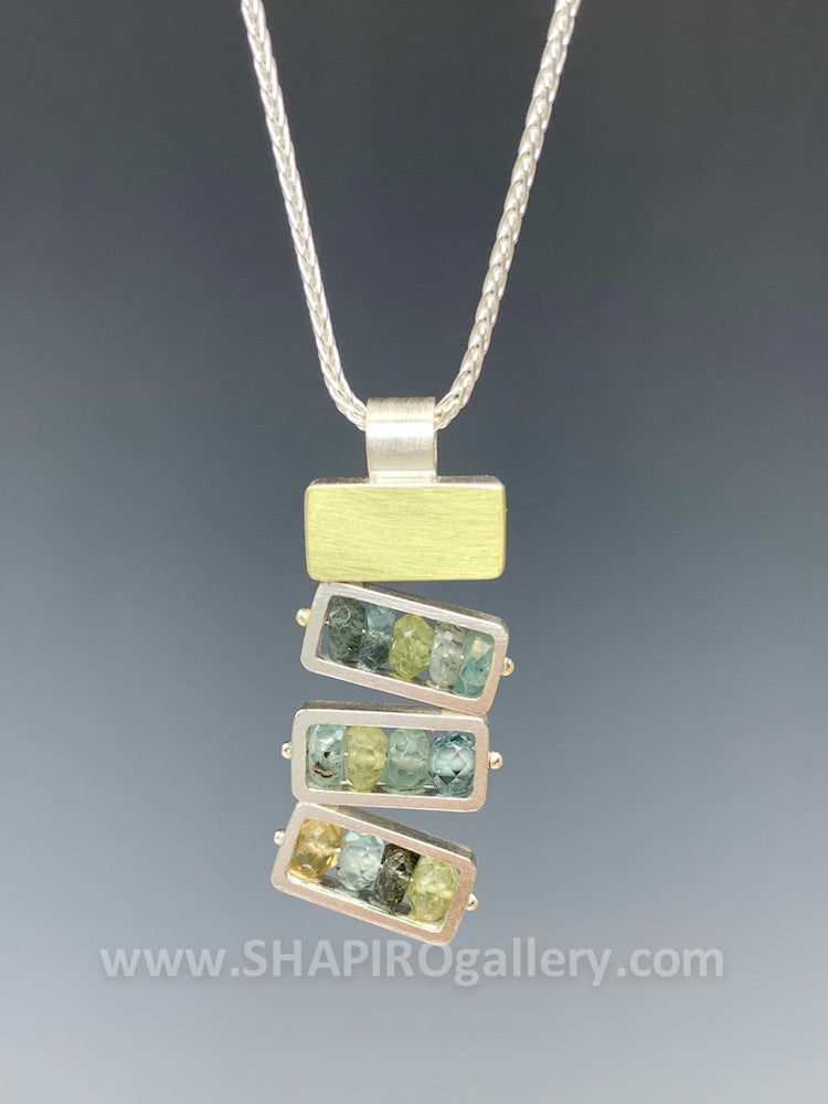 Stacked Moss Aquamarine Necklace