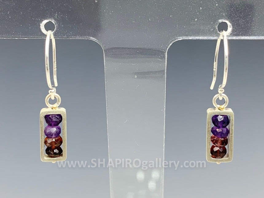 Red/Pink/Purple Small Frame Earrings