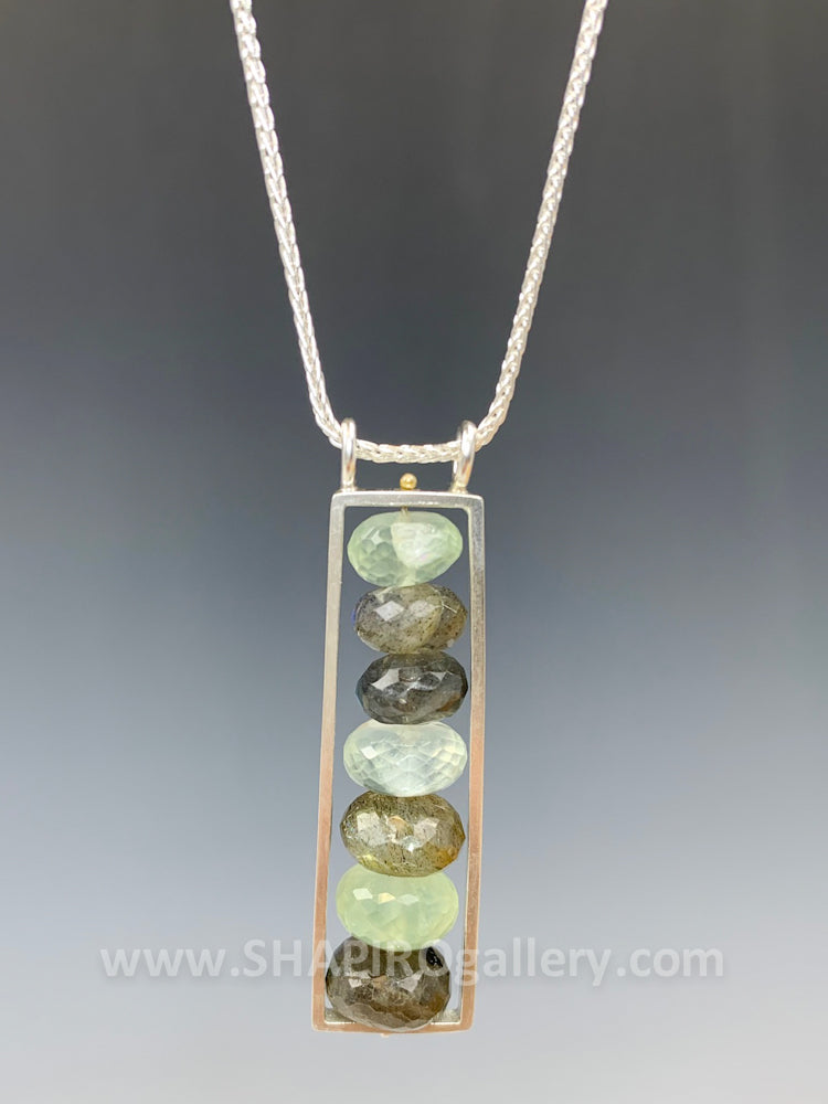 Rectangular Moss Aquamarine Necklace