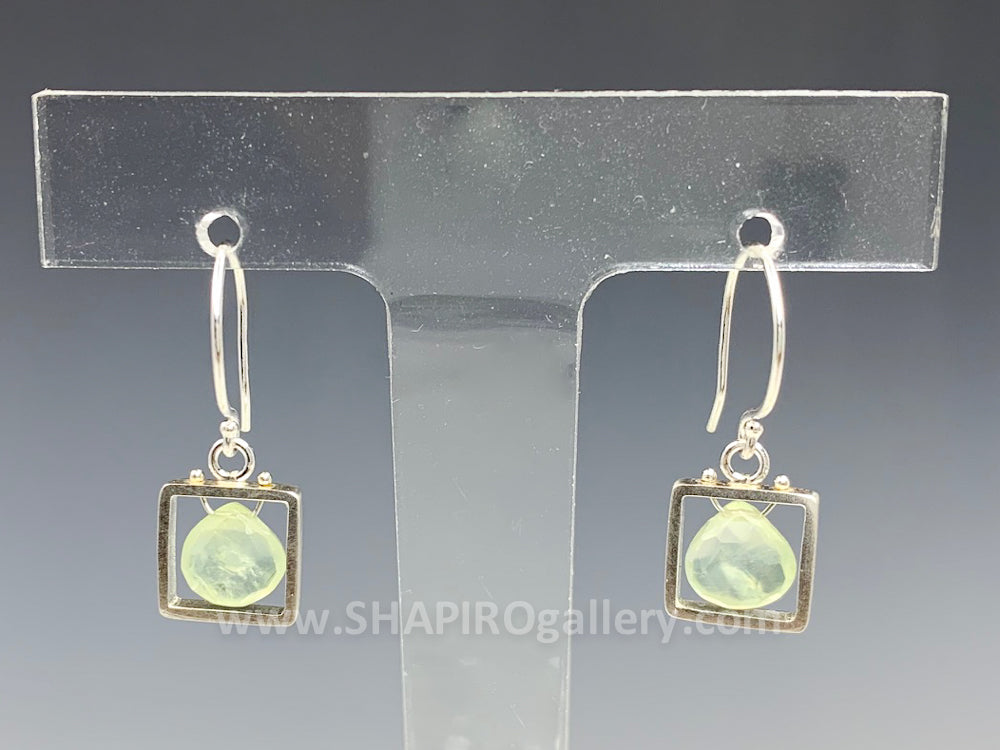 Prehnite Mini Square Earrings