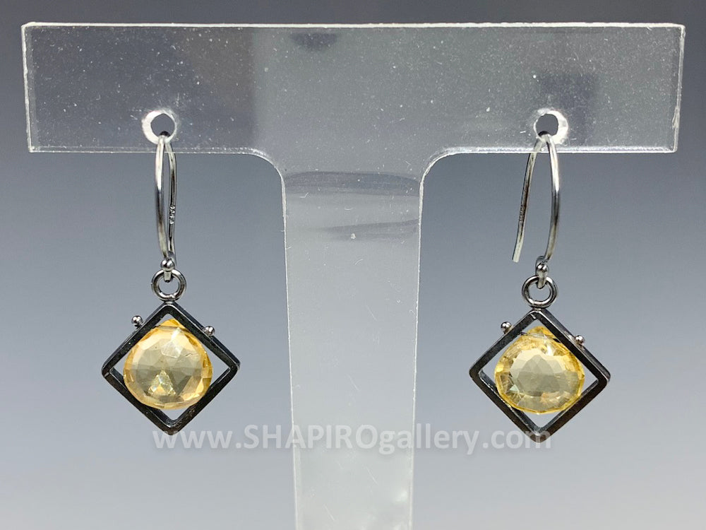 Citrine Diamond Shaped Earrings