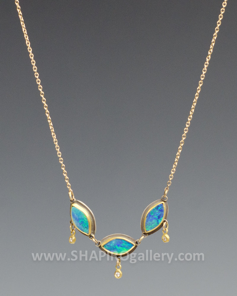 Triple Opal and Diamond Necklace