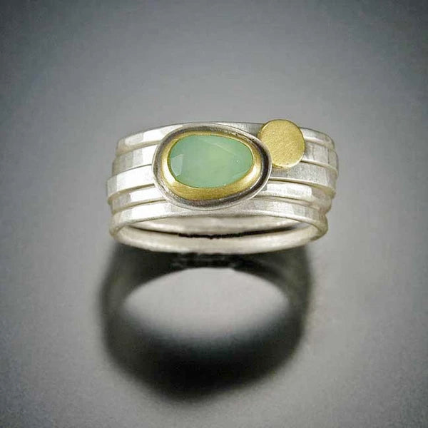 Chrysoprase Stacking Ring Set
