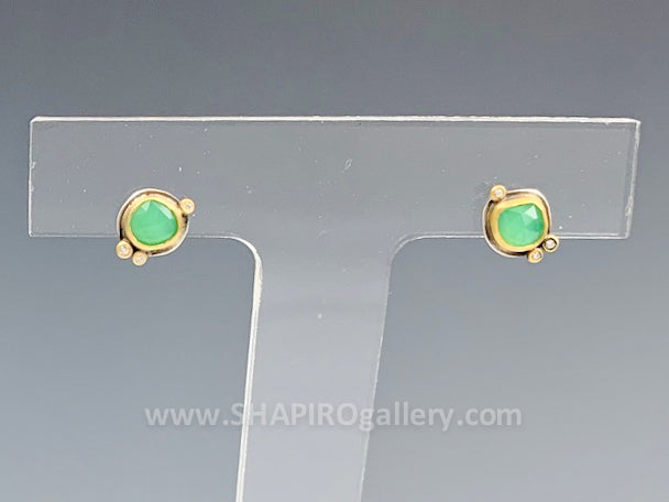 Chrysoprase Stud Earrings with Diamonds
