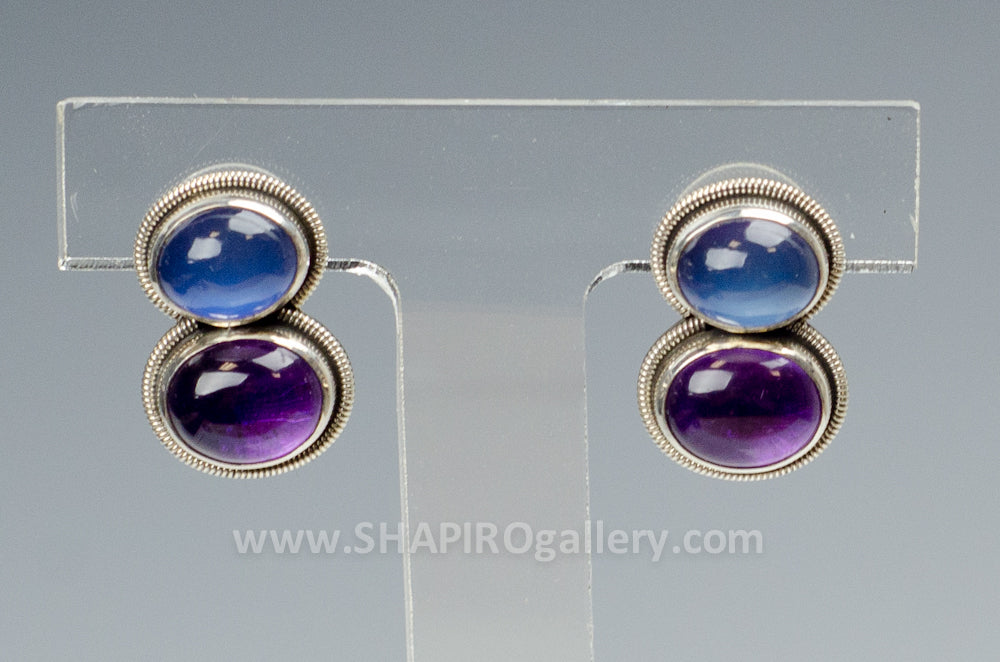 Moonstone and Amethyst Post Earrings