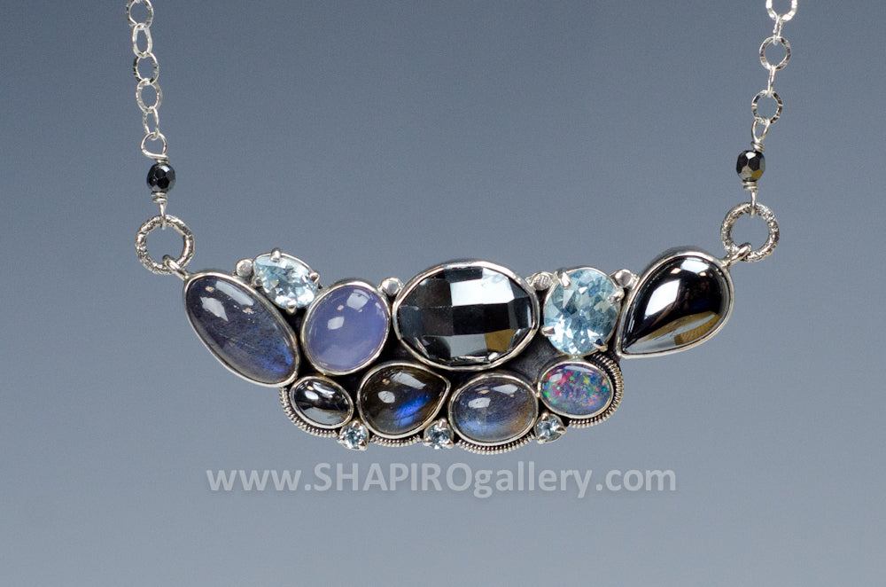 Labradorite, Moonstone and Blue Topaz Bar Necklace
