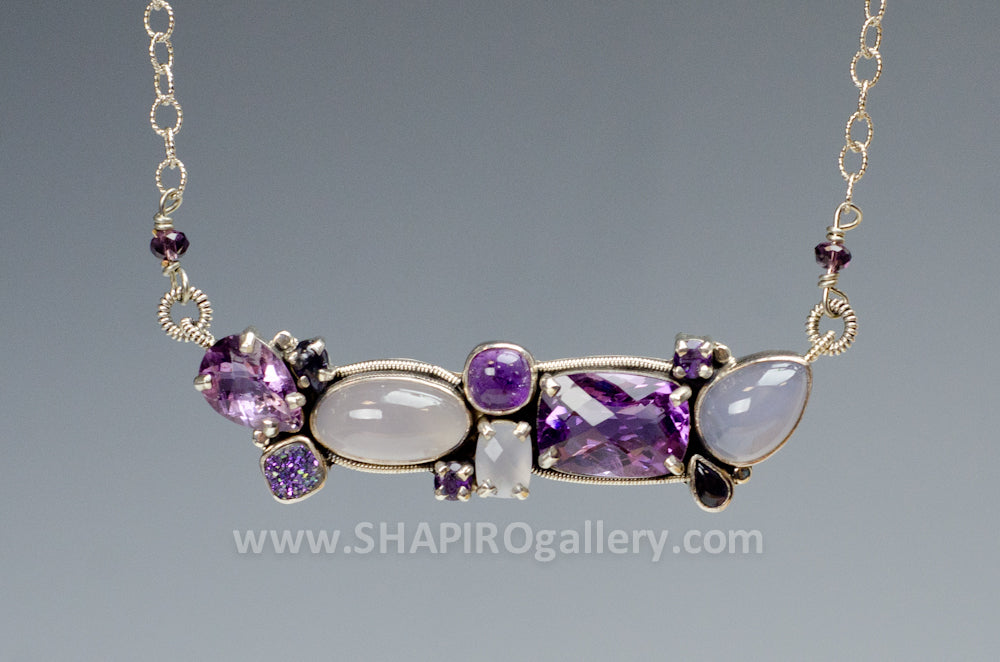 Amethyst and Chalcedony Bar Necklace