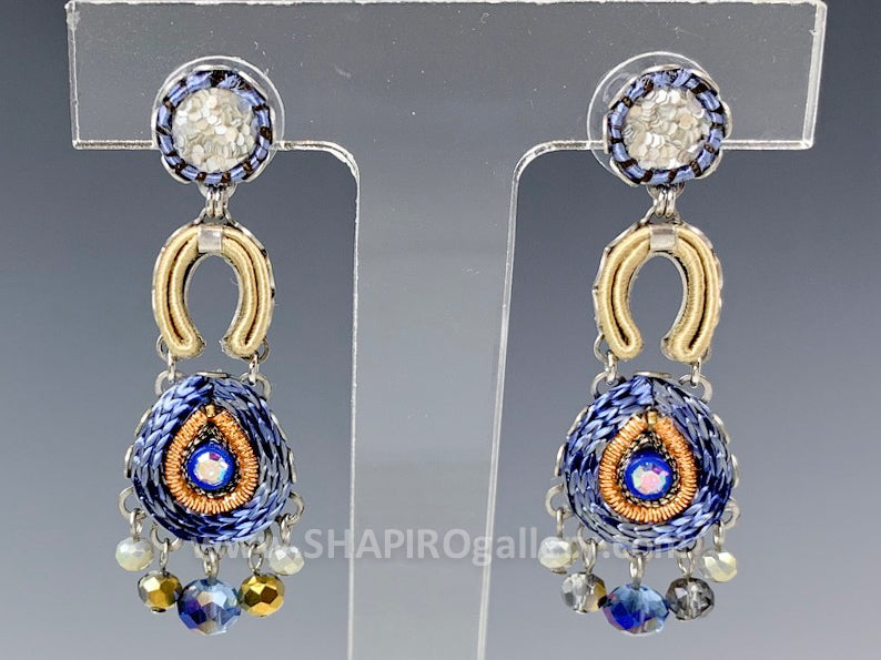 Sapphire Wave Three Drop Earrings