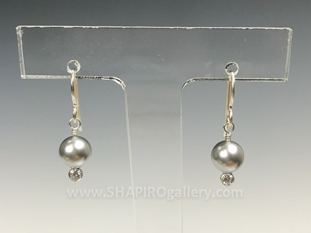Small Gray Swarovski Pearl Earrings
