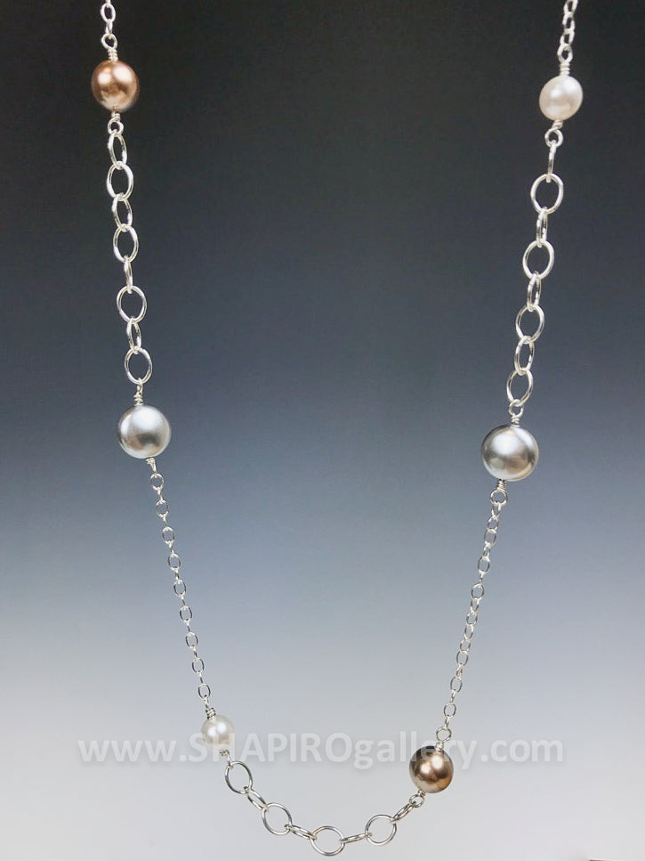 Oval Link Necklace with Swarovski Pearls