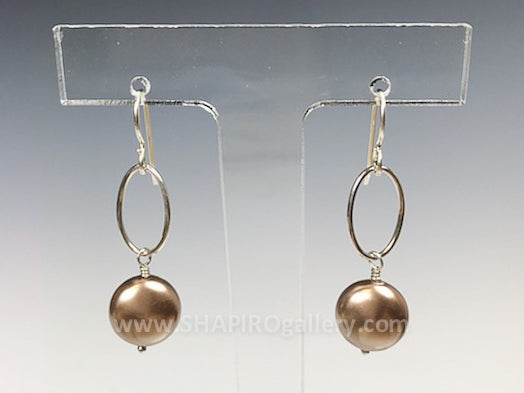 Oval Link Earring with Champagne Swarovski Coin Pearl