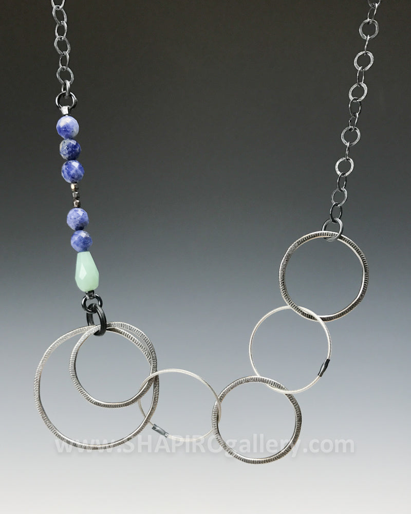 Circle Necklace with Sodalite and Amazonite