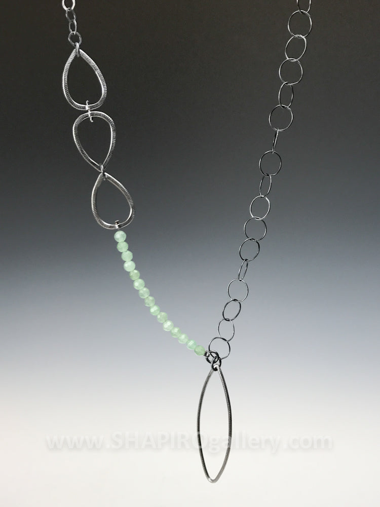 Assymetrical Leaf Drop Necklace with Aventurine