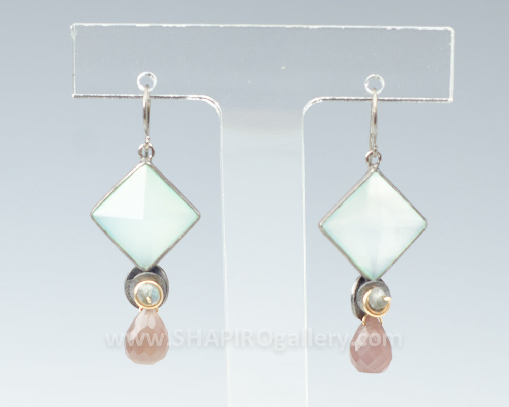 Diamond Shaped Chalcedony Earrings