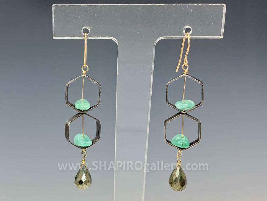 Emerald Hexagon Earrings