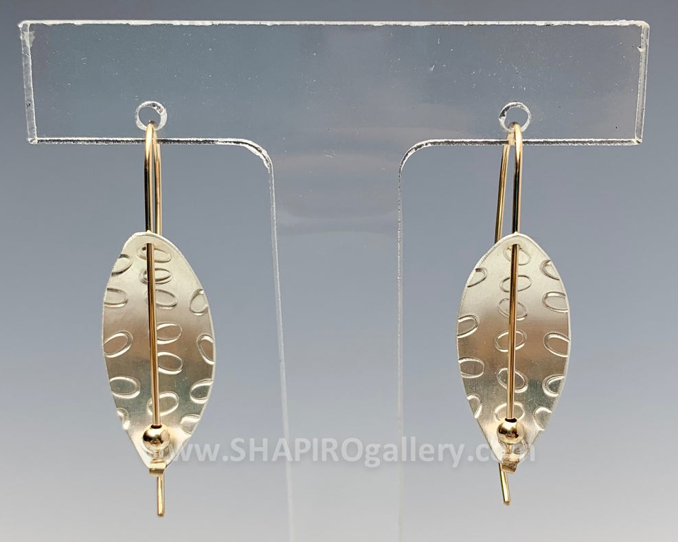 Oval Etch Leaf Earrings