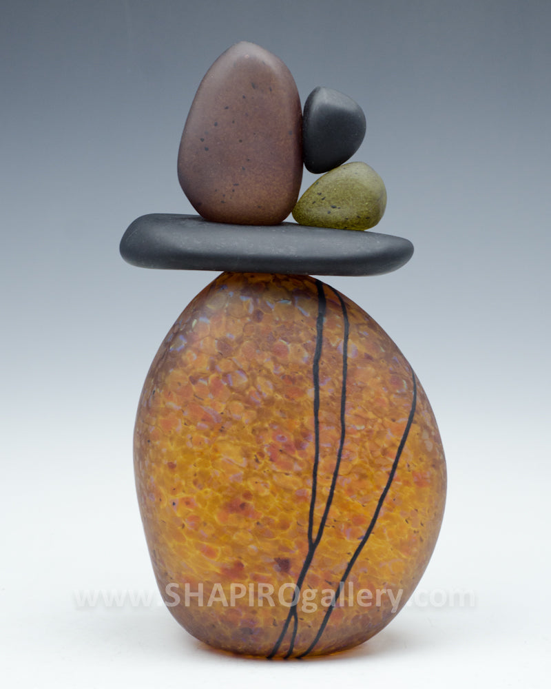Tortoise Shell Blown Glass Cairn - 5 Stone