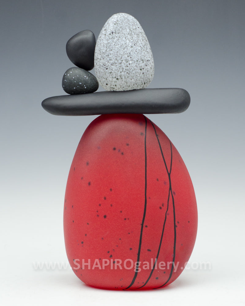 Red Blown Glass Cairn - 5 Stone