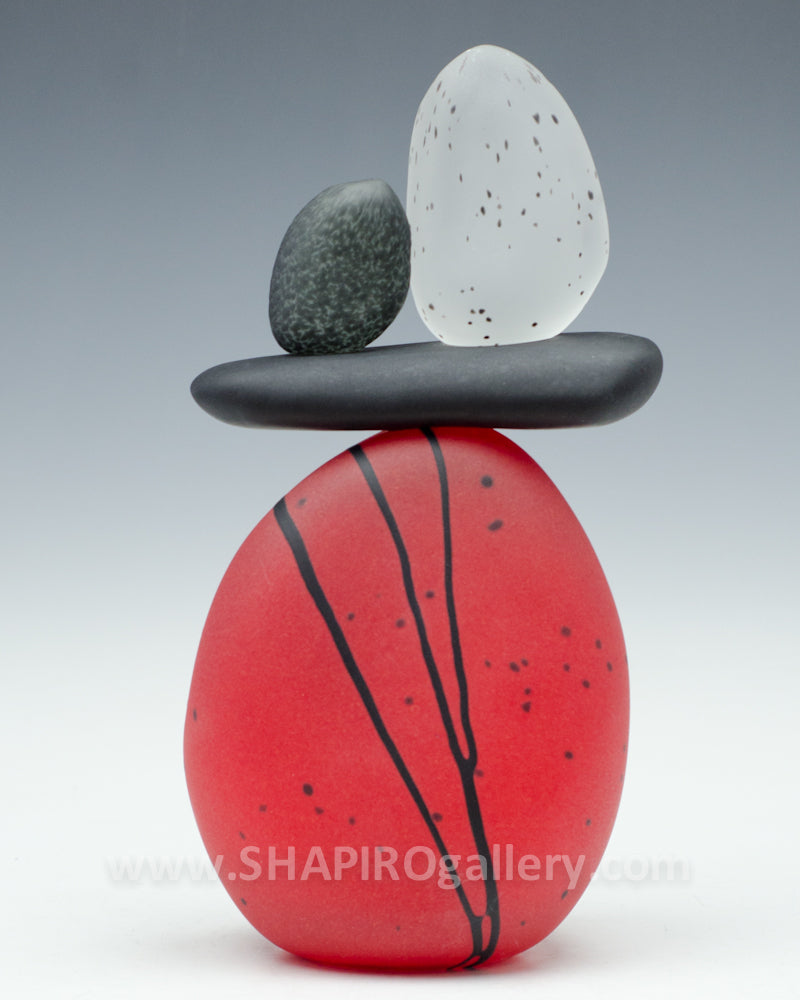 Red Medium Blown Glass Cairn - 4 Stone