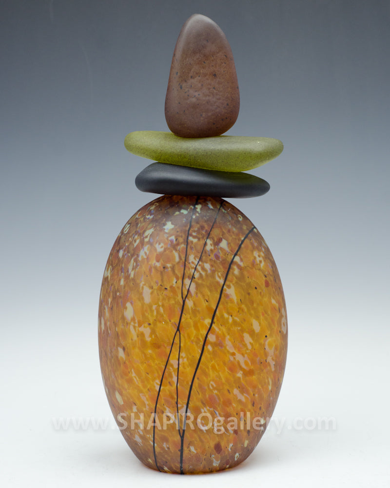 Tortoise Shell Tall Blown Glass Cairn - 4 Stone