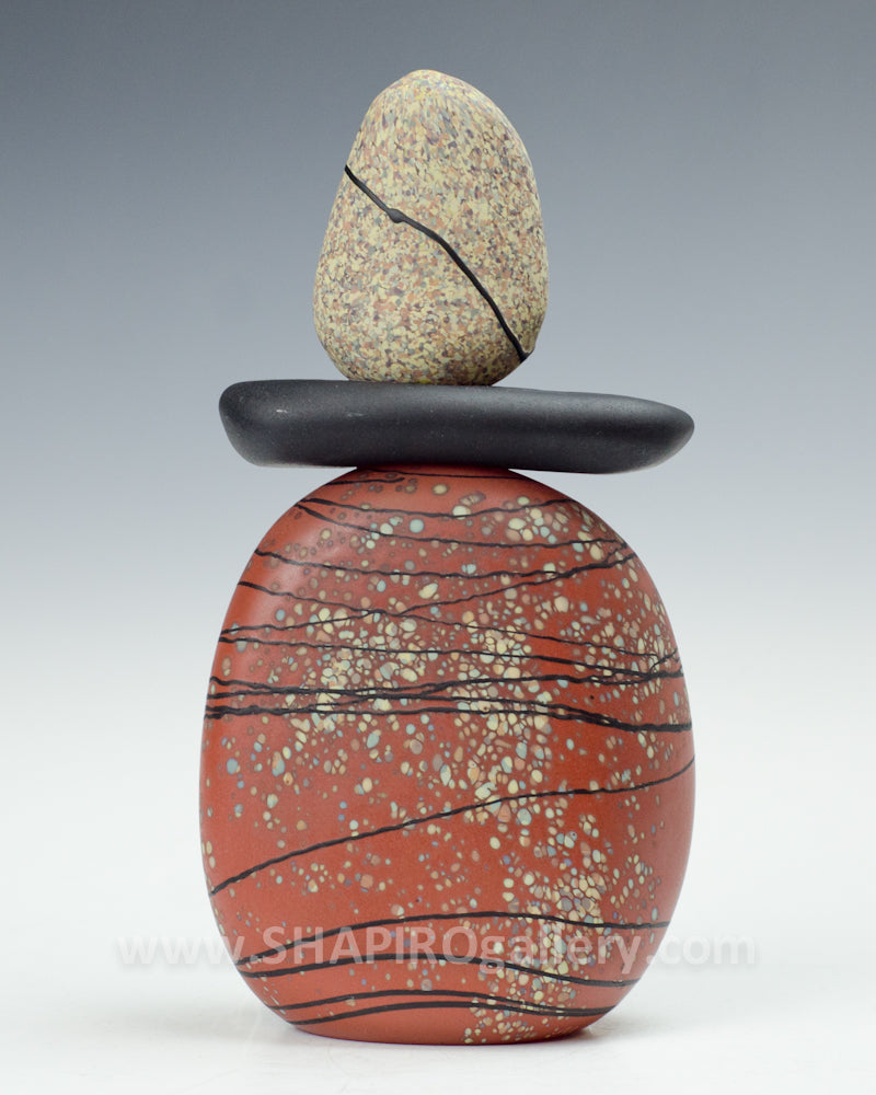 Red Blown Glass Cairn