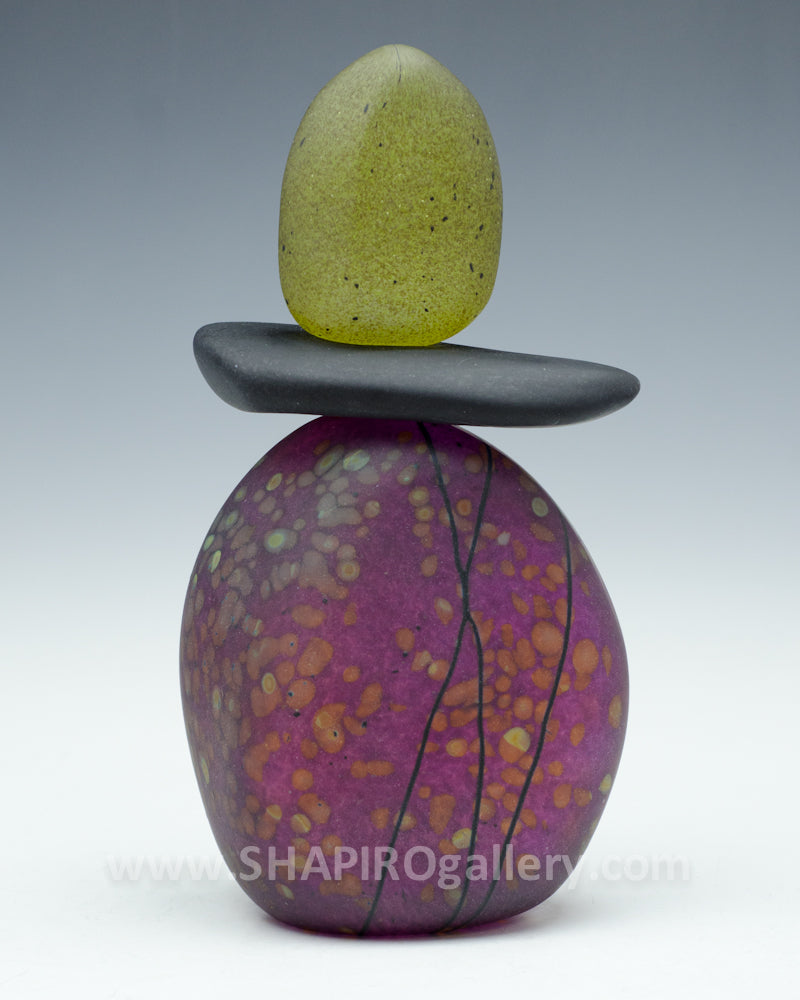 Sunset Short Blown Glass Cairn - 3 Stone