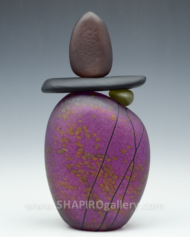 Sunset Blown Glass Cairn - 4 Stone