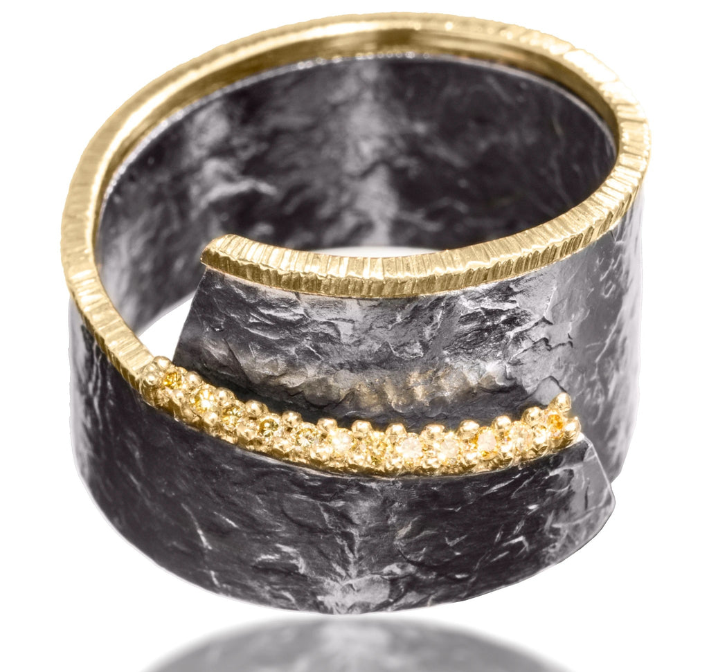 Yellow Diamond Wrap Around Cyclone Ring