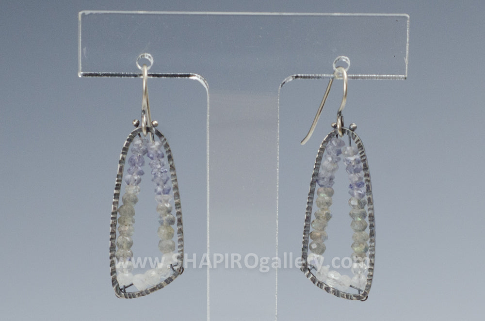 Iolite, Labradorite and Moonstone Oblong Earrings
